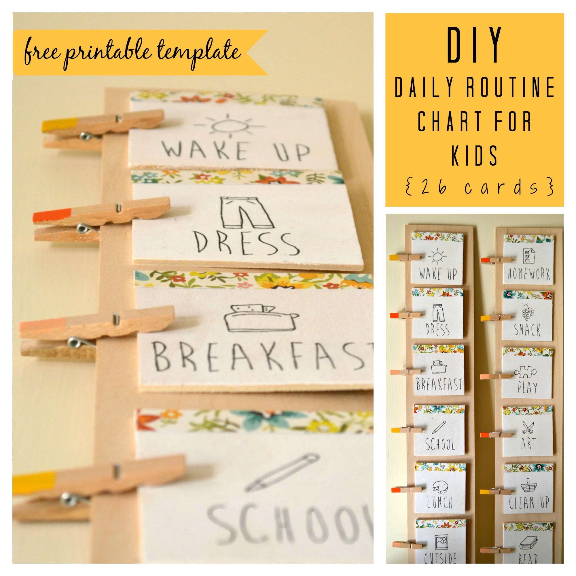 DIY Daily Routine Chart With Free Printable Template  Daily Routine Chart Template